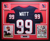 JJ Watt Autographed & Framed Blue Texans Jersey Auto JSA Certified