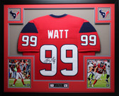 JJ Watt Autographed & Framed Red Houston Texans Jersey Auto JSA Certified