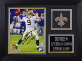 Drew Brees Autographed & Framed 8x10 New Orleans Saints Photo Beckett COA D-8A