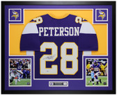 Adrian Peterson Autographed & Framed Purple Vikings Jersey Auto Beckett COA