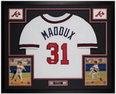 Greg Maddux Autographed & Framed White Braves Jersey Auto JSA COA