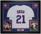 Sammy Sosa Autographed & Framed Pinstriped Cubs Jersey Auto JSA COA