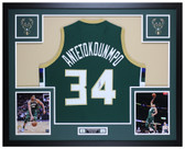 Giannis Antetokounmpo Autographed and Framed Green Bucks Jersey Auto JSA COA
