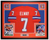 John Elway Autographed & Framed Orange Broncos Jersey Auto Beckett COA