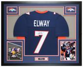 John Elway Autographed & Framed Blue Broncos Jersey Auto Beckett COA