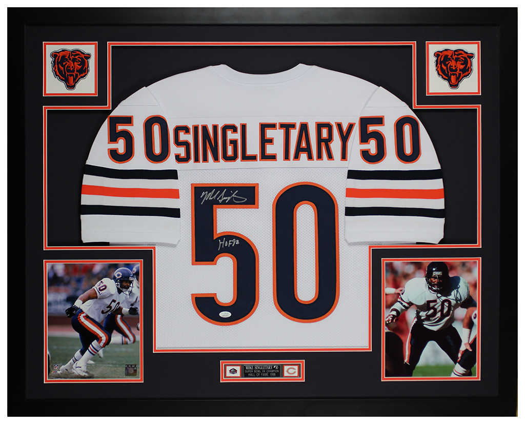 Mike Singletary Autographed and Framed Chicago Bears Jersey