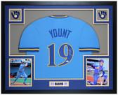 Robin Yount Autographed & Framed Blue Brewers Jersey JSA COA