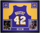 James Worthy Autographed & Framed Los Angeles Lakers Purple Jersey JSA COA
