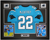 Christian McCaffrey Autographed and Framed Blue Panthers Jersey Auto Fanatics COA