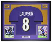 Lamar Jackson Autographed & Framed Purple Ravens Jersey Auto JSA COA