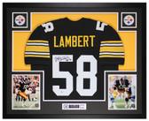 Jack Lambert Autographed & Framed Black Steelers Jersey Auto Beckett COA