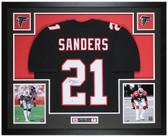 Deion Sanders Autographed & Framed Black Falcons Jersey Auto Beckett COA