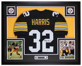 Franco Harris Autographed & Framed Black Steelers Jersey Auto Beckett COA