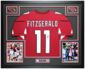 Larry Fitzgerald Autographed & Framed Red Cardinals Jersey Auto Beckett COA