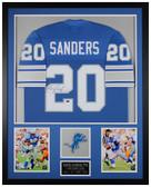 Barry Sanders Autographed & Framed Blue Lions Jersey Auto JSA Cert D1-V