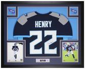 Derrick Henry Autographed & Framed Navy Blue Titans Jersey Auto JSA COA