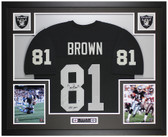 Tim Brown Autographed & Framed Black Raiders Jersey Auto Beckett COA