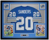 Barry Sanders Autographed & Framed Blue Lions Jersey Auto Fanatics COA