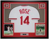 Pete Rose Autographed & Framed White Cincinnati Reds Jersey Auto JSA COA