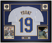 Robin Yount Autographed HOF 99 & Framed White P/S  Brewers Jersey JSA COA