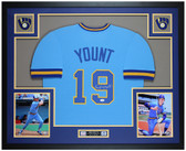 Robin Yount Autographed and Framed Blue Brewers Jersey JSA COA