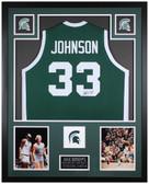 Magic Johnson Autographed & Framed Green Spartans Jersey Auto Beckett COA