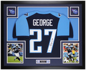 Eddie George Autographed & Framed Blue Titans Jersey Auto Beckett COA