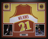 Dominique Wilkins Autographed and Framed Red Atlanta Hawks Jersey Auto JSA COA