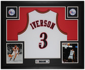 Allen Iverson Autographed and Framed White 76ers Jersey Auto PSA COA
