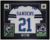 Deion Sanders Autographed & Framed White Cowboys Jersey Auto Beckett COA