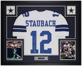 Roger Staubach Autographed & Framed White Cowboys Jersey Auto Beckett COA