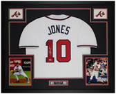 Chipper Jones Autographed and Framed White Braves Jersey Auto PSA COA