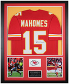 Patrick Mahomes Autographed and Framed Red Chiefs Jersey Auto JSA COA