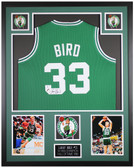 Larry Bird Autographed and Framed Green Celtics Jersey Auto Beckett