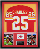 Jamaal Charles Autographed and Framed Red Chiefs Jersey Auto JSA COA