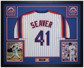 Tom Seaver Autographed & Framed Pinstriped Mets Jersey Auto JSA COA