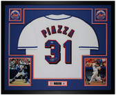 Mike Piazza Autographed & Framed White Mets Jersey Auto Beckett COA