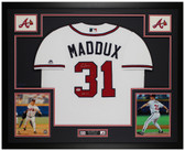 Greg Maddux Autographed and Framed White Braves Jersey Auto PSA COA