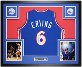 Julius Erving Autographed and Framed Blue 76ers Jersey Auto JSA COA