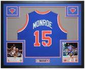 Earl Monroe Autographed and Framed Blue Knicks Jersey Auto JSA COA