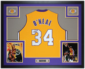 Shaquille O'Neal Autographed and Framed Yellow Lakers Jersey Auto JSA COA