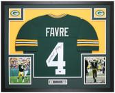 Brett Favre Autographed & Framed Green Packers Jersey Auto JSA COA