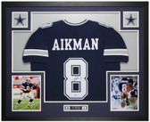 Troy Aikman Autographed & Framed Blue Cowboys Jersey Auto Beckett COA
