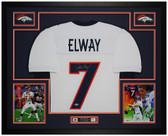 John Elway Autographed & Framed White Broncos Jersey Auto Beckett COA