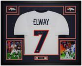 John Elway Autographed & Framed White Broncos Jersey Auto Beckett COA