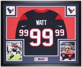 JJ Watt Autographed & Framed Blue Texans Nike Jersey Auto JSA COA