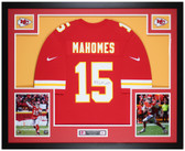 Patrick Mahomes Autographed and Framed Red Chiefs Nike Jersey Auto JSA COA