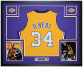 Shaquille O'Neal Autographed and Framed Yellow Lakers Jersey Auto Beckett COA