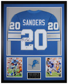 Barry Sanders Autographed and Framed Blue Lions Jersey Auto Beckett COA
