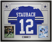 Roger Staubach Autographed & Framed Blue Cowboys Jersey Auto Beckett COA